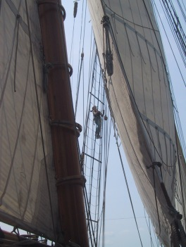 Climbing the rigging on The Pride of Baltimore II - an 1820's tea clipper